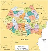 Romania with Administrative Districts and Surrounding Countries