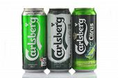 Carlsberg beer isolated on white background