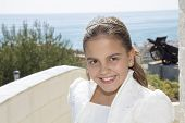 Happy Young Girl In Her First Communion