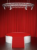 stock photo of soffit  - Red scene and red curtains - JPG