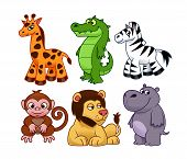 foto of hippopotamus  - Cartoon african animals on the white background - JPG