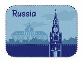 Illustration with  Moskow Kremlin in Russia