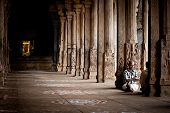 Indian People Pilgrim Resting Inside Ancient Colonnade Of Meenakshi Temple