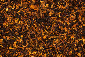 image of tobaco leaf  - Background is of chopped tobacco leaves on flat surface - JPG