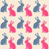 Rabbit easter seamless pattern. Vintage vector background wfor textile, wrapping or paper design.