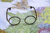 Glasses on a map of europe - France