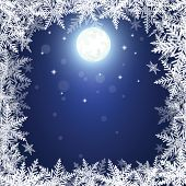 Christmas Snowflakes And Sun On Dark Blue Background.