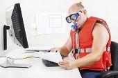 Strange businessman in diving mask and snorkel