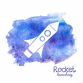 Vector white rocket icon on watercolor background
