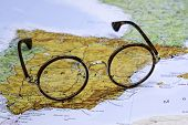 Glasses on a map of europe - Spain