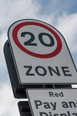 picture of mph  - 20 mph zone road sign seen in UK - JPG