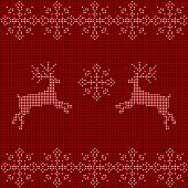 Beaded Christmas Ornament Reindeer And Snowflakes. Vector