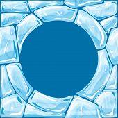 Round frame on blue Ice seamless pattern