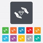 Jewelry insurance sign. Hands protect diamonds.