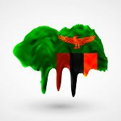 Flag of Zambia painted colors