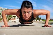 determination pushup woman for fitness and strength training