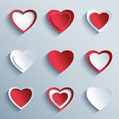 Set Of Paper Hearts, Design Elements For Valentines Day