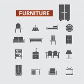 furniture, interior, room store black icons, signs, illustrations set, vector