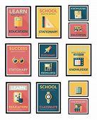 School Poster Flat Banner Design Flat Background Set, Eps10