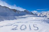 2015 on snow at mountains - Hochgurgl Austria - nature and sport background