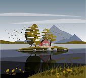 Autumn lake and house on island.