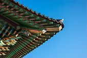 roof structure close-up of the Geumsansa Temple roof in South Korea