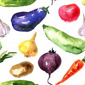 pic of root vegetables  - Vector seamless pattern with watercolor drawing vegetables - JPG