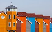 pic of row houses  - Wooden Houses in various Colors in Groningen Netherlands - JPG