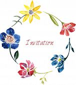 watercolor drawing card with flowers