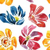 seamless pattern with watercolor drawing flower