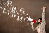 Man in shirt shouting into megaphone and abstract text come out