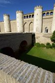 view of the Aljaferia palace in Saragossa, Aragon, Spain
