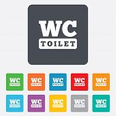 WC Toilet sign icon. Restroom symbol.