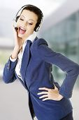 Beautiful business woman at call center