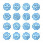 stock photo of diamond  - Set of diamond web icons - JPG