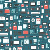 Seamless pattern of electronic devices and home appliances colorful icons set in flat style. Templat