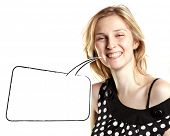 Happy woman with speech bubble, laughing on camera against white background