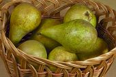 Wicker basket with pears