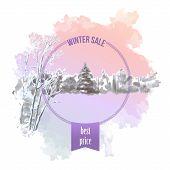 Watercolor Splash Winter Landscape