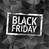 Black Friday stamp with dark polygonal background
