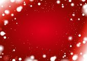 Red winter background with snow border
