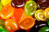 Close up colorful hard candies.