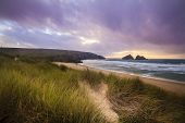 Holywell Bay Spectacular Sunset