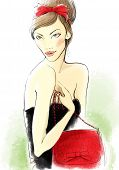 Portrait of the young woman with a bag.  Fashion illustration