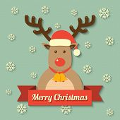 picture of christmas bells  - a reindeer wearing christmas red hat with merry christmas on red ribbon badge and snowflake background - JPG