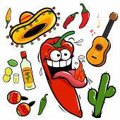 pic of guitar  - Vector collection of a hot chili pepper and Mexican themed illustrations with a guitar - JPG