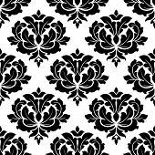 Black and white arabesque seamless pattern