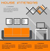 House interior infographic vector template