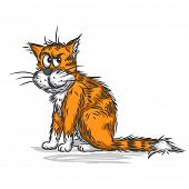 Vector sketch of a ginger cat
