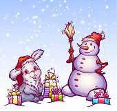 Illustration of hare and snowman